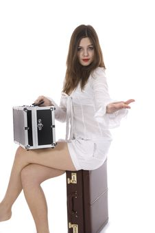 Free Young Woman With  Suitcase And Globe Royalty Free Stock Photography - 4007697