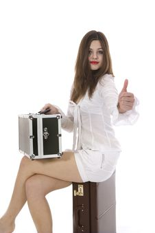 Free Young Woman With  Suitcase And Globe Royalty Free Stock Photos - 4007708