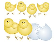 Free Young Easter Chicks With Eggshell Stock Photo - 4008580