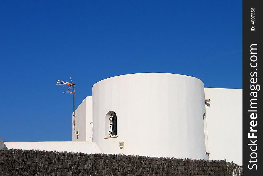 White spanish tower house