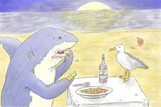 Free Shark Eating Stock Image - 40046461