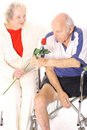 Free Wife Giving Handicap Husband A Rose Vertical Royalty Free Stock Images - 4012079
