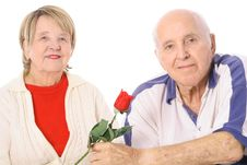Free Happy Seniors With Valentines Rose Stock Photos - 4012203