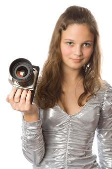 Free Young Girl With SLR Camera Royalty Free Stock Image - 4012476