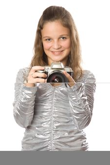 Free Young Girl With SLR Camera Stock Image - 4012761