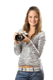 Free Young Girl With SLR Camera Royalty Free Stock Photo - 4012785