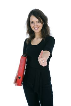 Free Business Woman With Folder Stock Photo - 4012910