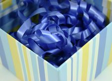 Free Blue Ribbon Striped Box Stock Photography - 4014842