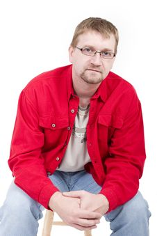 Free Man In Red Shirt Stock Photo - 4014910