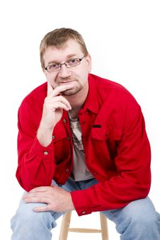 Free Man In Red Shirt Stock Photo - 4014920