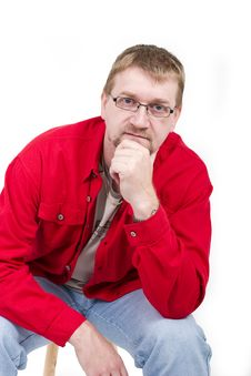 Free Man In Red Shirt Royalty Free Stock Images - 4014929