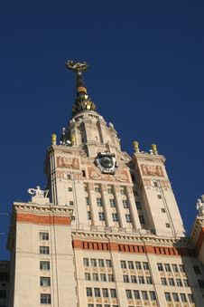 Building Of The Moscow State University  M.Lomonos Royalty Free Stock Photo