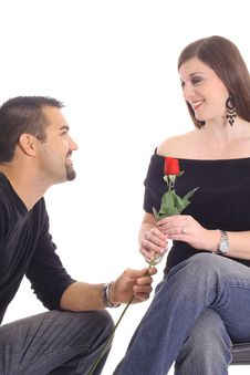 Free Man Giving Woman A Rose Stock Photo - 4015750