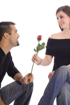 Free Latino Man Giving Woman A Rose Stock Photography - 4015782