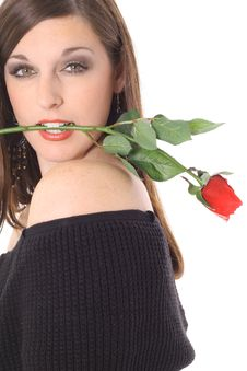 Free Beautiful Brunette With A Red Rose Stock Photos - 4016203
