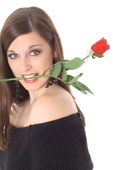 Free Brunette With A Rose In Her Mouth Royalty Free Stock Image - 4016226