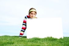 Free Young Girl Holding Blank Sign Royalty Free Stock Photo - 4018595