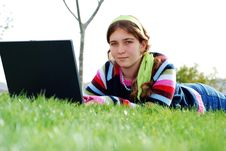 Free Young Girl And Laptop Royalty Free Stock Image - 4018606