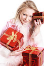 Free The Portrait Of The Happy Girl With Gifts Royalty Free Stock Photo - 4022965