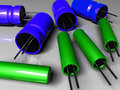 Free Radio Components Capacitors Green Blue Royalty Free Stock Photography - 4024277