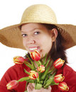 Free Woman With Tulips And Strawhat Stock Images - 4027884