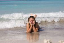 Free Woman On Beach Stock Photography - 4020272