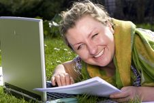 Free Student With Laptop On Grass Stock Image - 4020371