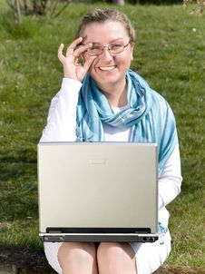 Free Student With Laptop On Grass Stock Images - 4020384