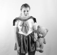 Girl With Tedy Bear Royalty Free Stock Photo