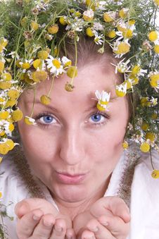 Girl With Herbs Stock Photos
