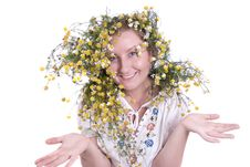 Girl With Herbs Royalty Free Stock Photography