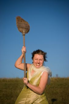 Free Witch Hiting With Broom Royalty Free Stock Image - 4020726