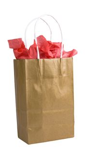Free Golden Gift Bag Stock Image - 4020911