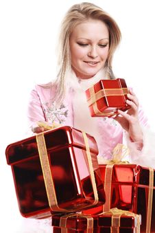 Free The Portrait Of The Happy Girl With Gifts Royalty Free Stock Images - 4022859