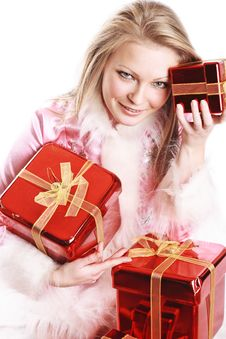 The Portrait Of The Happy Girl With Gifts Royalty Free Stock Photo