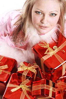 The Portrait Of The Happy Girl With Gifts Stock Photo