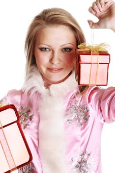 Free The Portrait Of The Happy Girl With Gifts Stock Images - 4023054