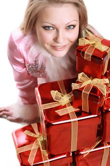 Free The Portrait Of The Happy Girl With Gifts Royalty Free Stock Image - 4023116