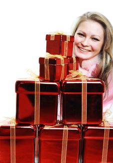 Free The Portrait Of The Happy Girl With Gifts Stock Images - 4023134