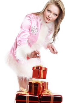 The Portrait Of The Happy Girl With Gifts Royalty Free Stock Images