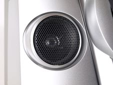 Silver Boom Box Stereo Tweeter Royalty Free Stock Image