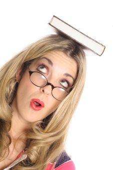Brainy Blonde Woman Angle Royalty Free Stock Image