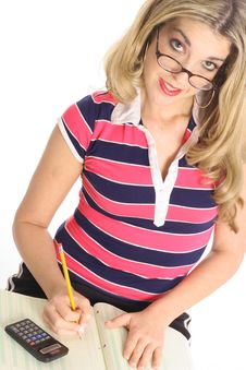 Free Woman Working With Pencil And Calculator Royalty Free Stock Photo - 4023395