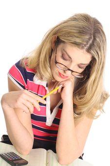 Free Woman Working On Spreadsheet Royalty Free Stock Photo - 4023425