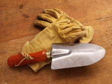 Free Work Gloves On Wood With Hand Tool 1 Royalty Free Stock Photo - 4023765
