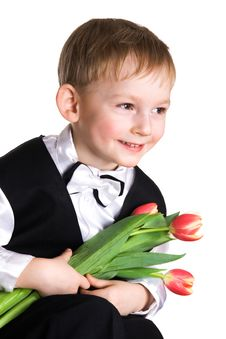 Little Boy With A Tulips Stock Image