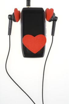 Black Music Player With Headphones And Red Hearts. Stock Photo