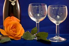 Wine Glasses And Rose Stock Image