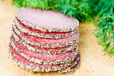 Free Peppered Salami With Dill Stock Photos - 4024733