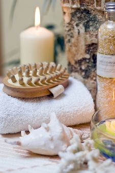 Free Spa Massage Brush Composition Stock Photography - 4024842